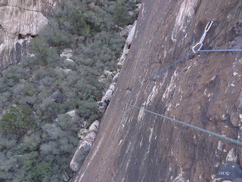 Rock Climbing Photo: Looking down the route from the anchors. Great var...