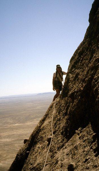 Rock Climbing Photo: M.Clinton high on Ship Rock 2001.