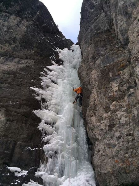 2nd pitch of Chockstone Gulley, Skylight Area, Ouray CO