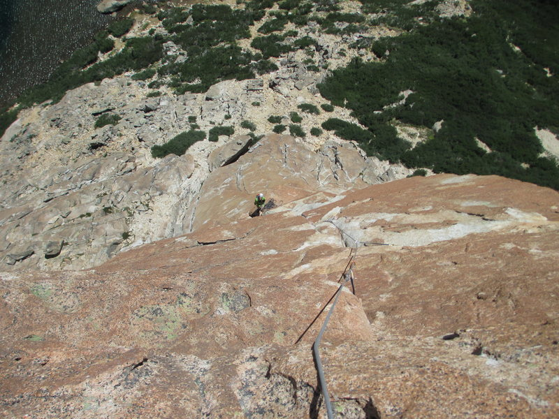 James Anderson at the belay for the last pitch.