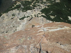Rock Climbing Photo: James Anderson at the belay for the last pitch.