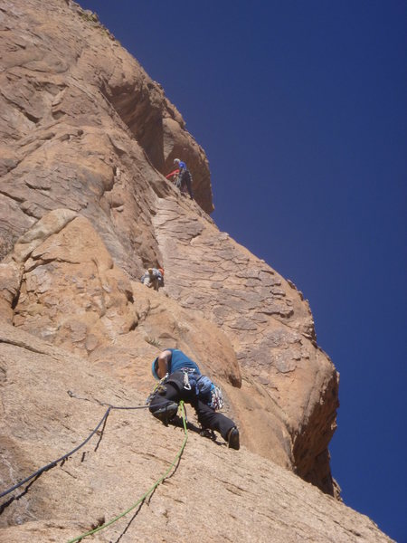 Rock Climbing Photo: Marcy on pitch two; Jimbo in the background at the...
