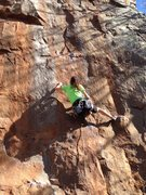 Rock Climbing Photo: Short person working the crux move on Horseshoes a...