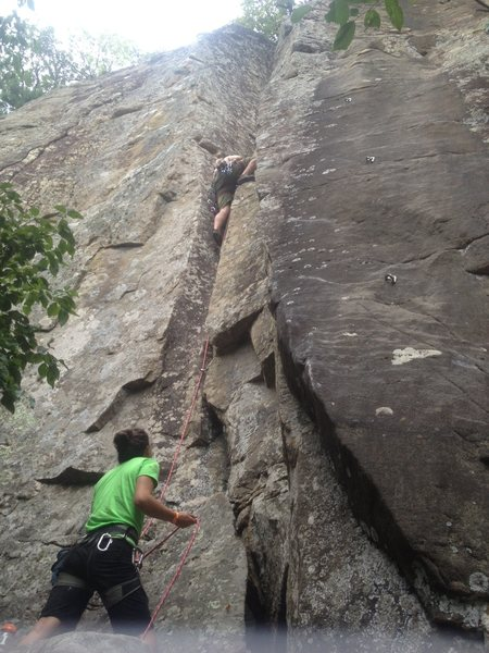 Deft Jam 5.9+ Trad route in the confederate cracks. Super fun crack climb.