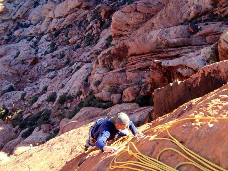 Rock Climbing Photo: Matt coming up the fun sloper finish on P3 just ab...