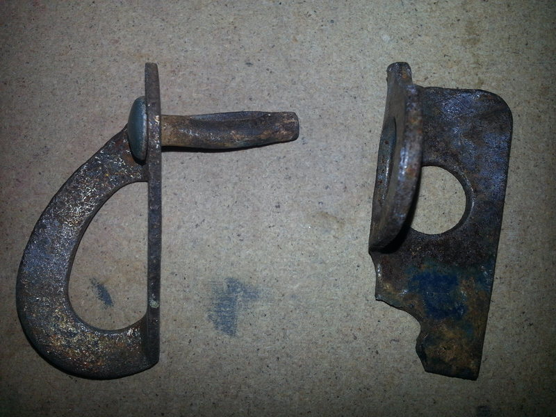 Some of the older fixed pro on P-1. The pin is definitely not an original but it still broke with only a tap or two as it was being removed. A single bolt (#2) was used to replace these two pieces (summer of 2013).