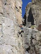 Rock Climbing Photo: Alan pulling towards the slab
