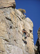 Rock Climbing Photo: Alan chalking up at the rest below the crux. He fl...