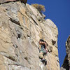 Alan chalking up at the rest below the crux. He flashed it of course!!!