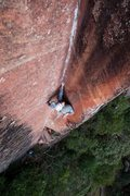 Rock Climbing Photo: Staring down the upper crux