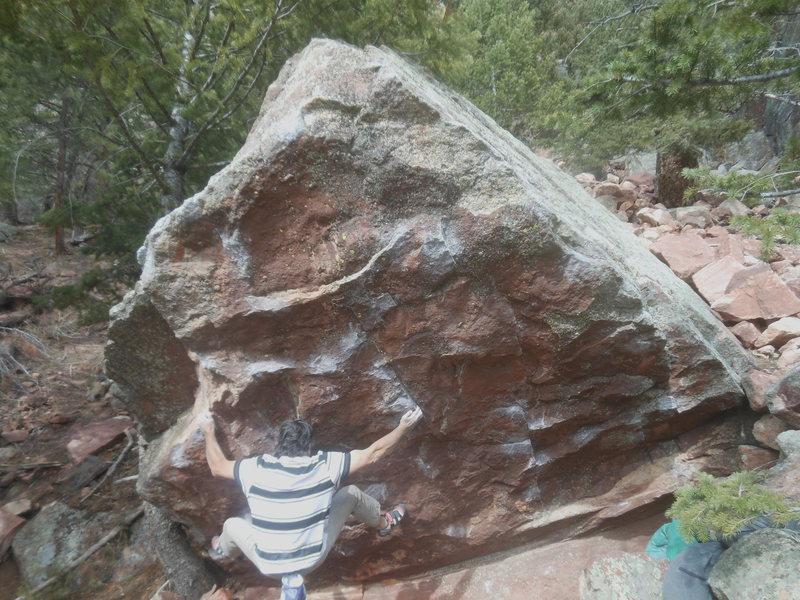Rock Climbing Photo: Wavy Gravy on the Wave Boulder, Rincon Wall area.