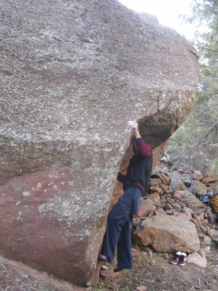 Rock Climbing Photo: Slip Slide on the Horn Boulder.