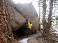 Rock Climbing Photo: Steppin' Stone on the Pyramid Boulder, Milton Boul...