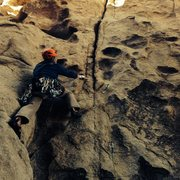 Rock Climbing Photo: Jason at the crux moves establishing in the flarin...