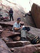 Rock Climbing Photo: Randy painting at Eldo - 2013