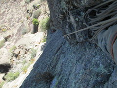 Rock Climbing Photo: Looking down the second pitch