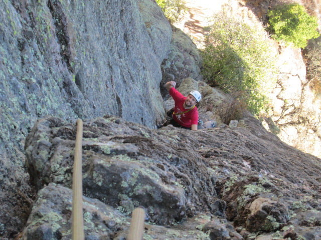 Rock Climbing Photo: dave having a blast approaching the second belay