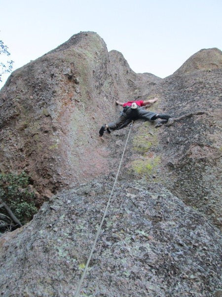 Rock Climbing Photo: Dave stemming past the first bolt