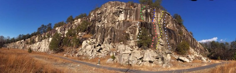 Rock Climbing Photo: White: Lightning Crack Green: Ain't this a Mess Re...