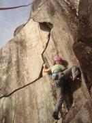 Rock Climbing Photo: Climber starting Lightning Crack.