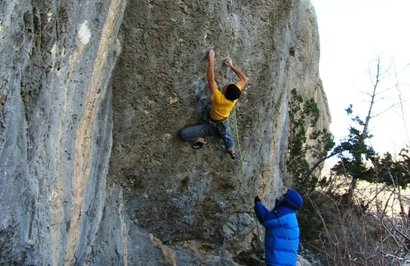 Rock Climbing Photo: The cruxy entry moves of The Present.
