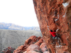 Rock Climbing Photo: Dennis starting up the crux section of Nothing Sho...