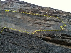 """Rock Climbing Photo: 5.9 R """"Scariest Yet"""" variation to the fi..."""