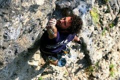Rock Climbing Photo: Clipping into the crux