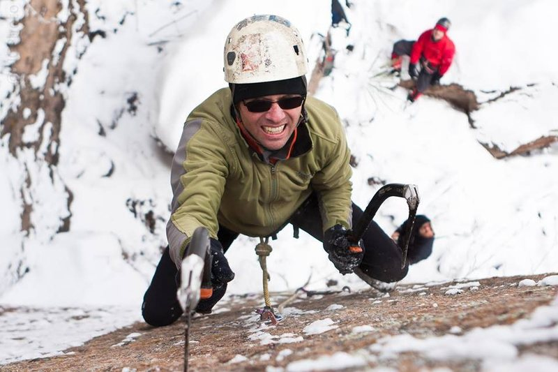 Rock Climbing Photo: Dave Mills Trushing at the crux of SCS. Photo take...