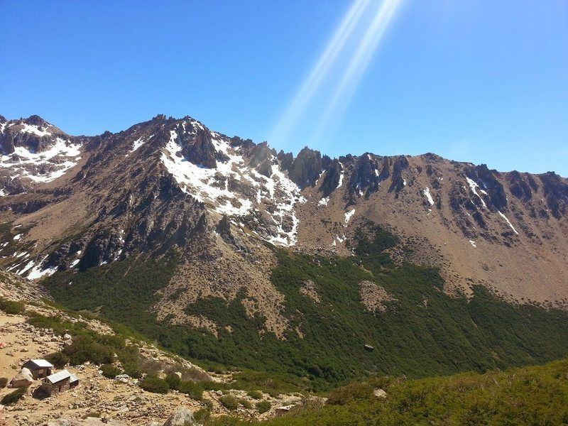 Refugio & Valley from Aguja Frey Summit