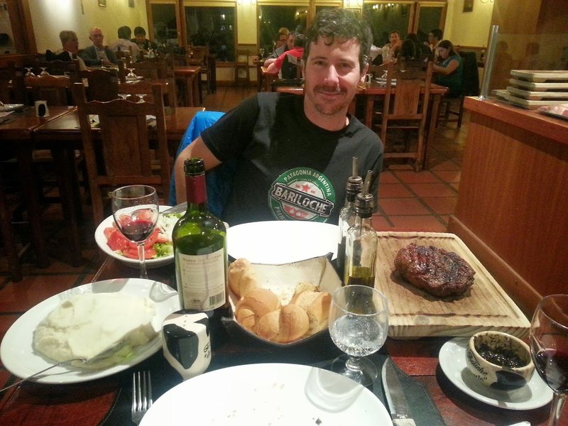 Rock Climbing Photo: Classing It Up w Grilled Steak & Malbec in Bariloc...