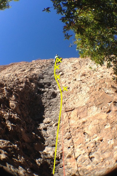 Rock Climbing Photo: Leading Righteous Babe. First part of P1, steps ba...