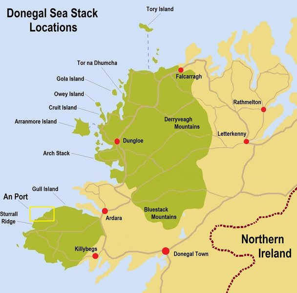 Donegal Sea Stack map