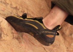 """Outside of left foot ... you can make out initials """"DJB"""" on heel."""