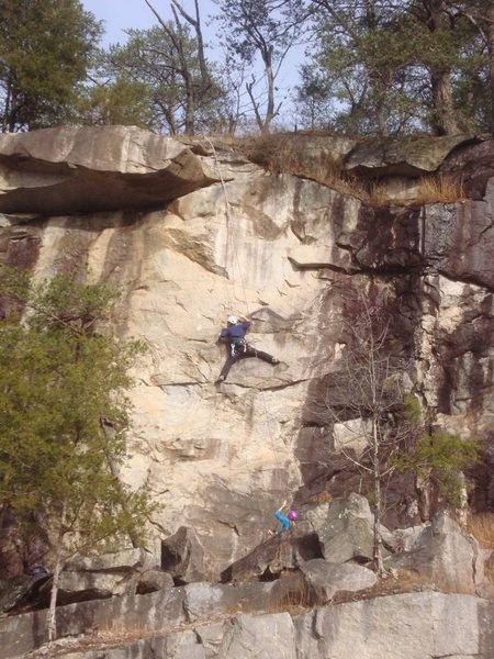 Climber on Hilliard Step