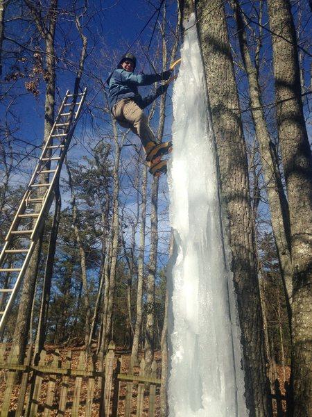 HEL ice climbing lunch (Joe on the wall)