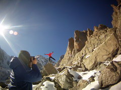 Rock Climbing Photo: Aaron L and Timmy O - at Sky Pond RMNP. December 2...