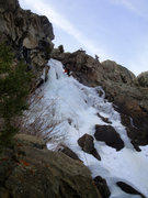 Rock Climbing Photo: Leading up the second ice step.