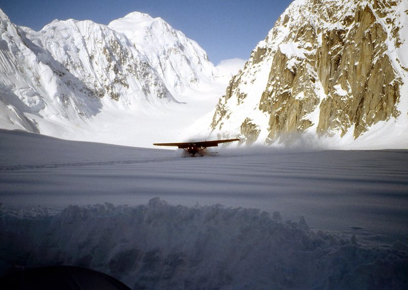 Doug Geeting landing on the Tokositna after days of heavy snow 1992.