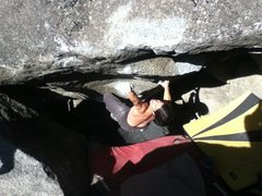 Rock Climbing Photo: Rob Lewis not at all angry on Mad Max, v7. JY Boul...