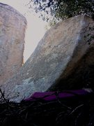 Rock Climbing Photo: Robbins slab.  Eric's face is in the background.