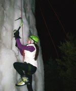 Rock Climbing Photo: Kicking ice