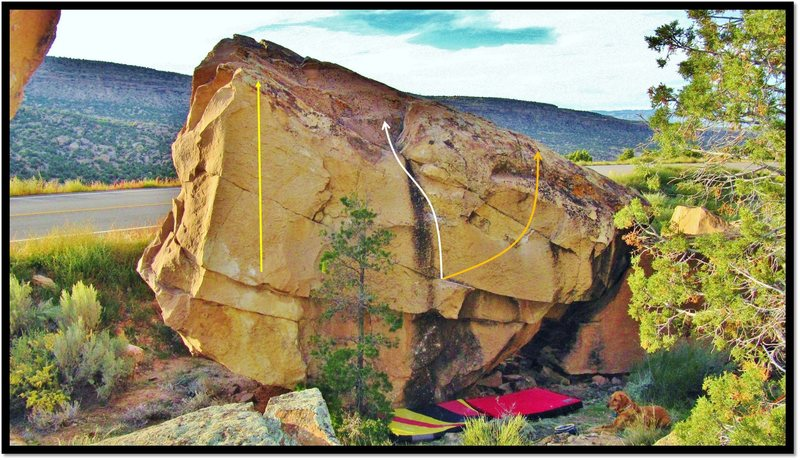 Falls From Above east face problems.  Bedside Manner (V1), in orange. Booty Call (V1), in yellow. Vaginasaur (V2), in white.