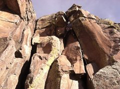 Rock Climbing Photo: Chimney Route is the crack in the corner on the le...