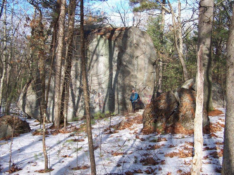 The largest boulder.