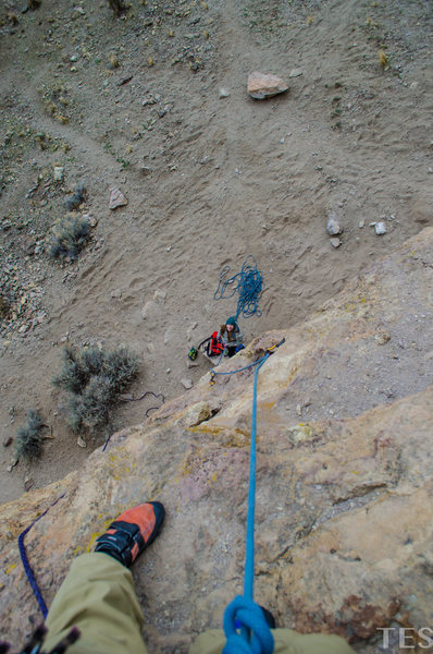 Two bolts into the route. The crux is getting off the ground!