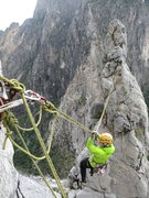 Rock Climbing Photo: Lucie on the Tyrolean traverse from the eastern ne...