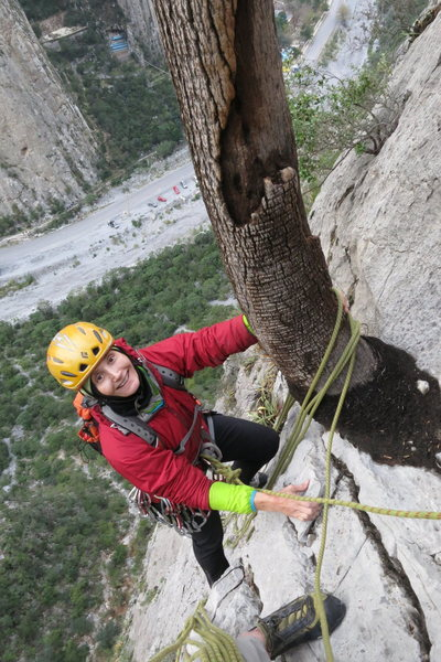 Lucie arriving at the second belay