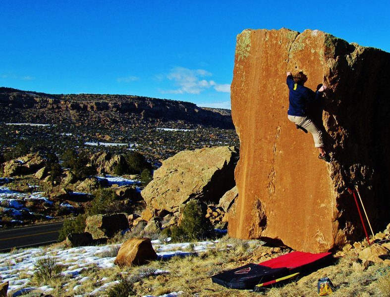 Rock Climbing Photo: Staring down the sidepull on Cyclops. Nothing too ...