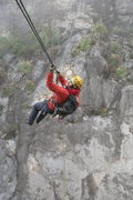 Rock Climbing Photo: Lucie on the Tyrolean traverse on Crescent Moon Bu...